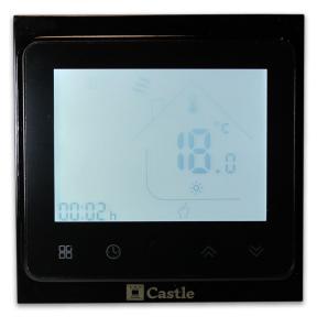 Сенсорный программируемый терморегулятор Castle TWE02 с Wi-Fi Черный (Китай)