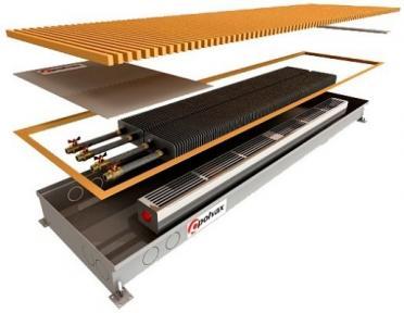 Внутрипольный конвектор Polvax принудительной конвекции с 2-мя теплообменниками 1/2 КVМ.360.2000.67