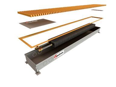 Внутрипольный конвектор Polvax естественной конвекции с 1-м теплообменником 3/4  КЕ.300.3000.90