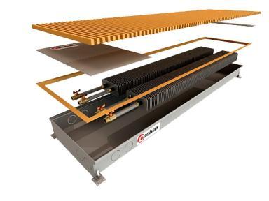 Внутрипольный конвектор Polvax естественной конвекции с 2-мя теплообменниками 1/2 КЕМ.300.1000.78