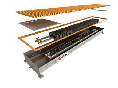 Внутрипольный конвектор Polvax для влажных помещений с 1-м теплообменником 3/4 КV.D.300.2750.125