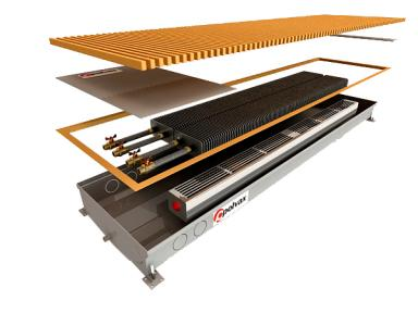 Внутрипольный конвектор Polvax для влажных помещений с 2-мя теплообменниками 3/4 КVM.D.PLUS.380.1250.125